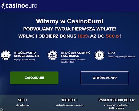 Podwojenie pierwszego depozytu o 500 PLN na start w Casino Euro