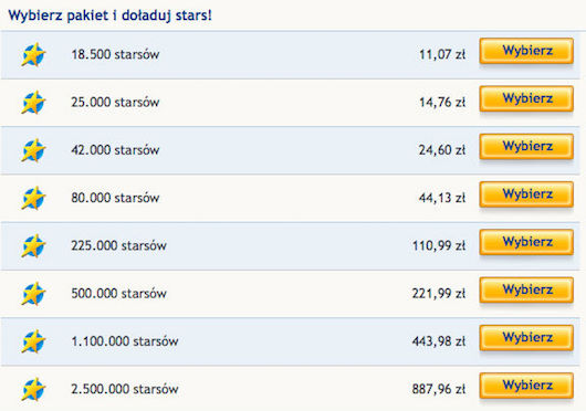 Odbierz darmowe starsy w StarGames pl lub kup dodatkowe przez sms