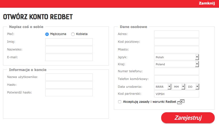 Wpisz w formularzu Redbet kod partnerski 2017: VIPSH