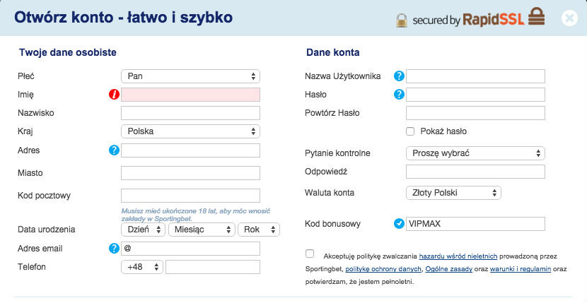 Wpisz w formularzu rejestracyjnym Sportingbet kod bonusowy VIPMAX i odbierz rewelacyjny bonus powitalny