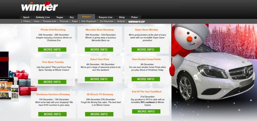 Odbierz prezenty w Świątecznej promocji na Winner Casino