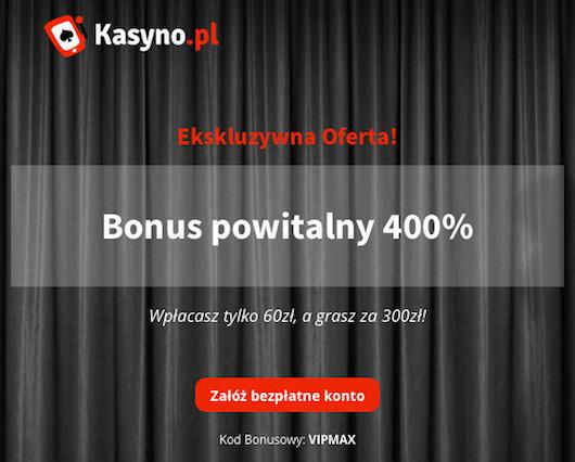 Wykorzystaj w kasyno.pl kod bonusowy VIPMAX i zgarnij gratis aż 250 PLN na start