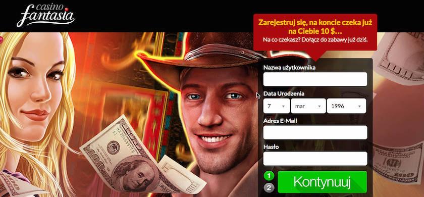 Odbierz $10 na start w Casino Fantasia - załóż konto i zagraj za darmowy bonus bez depozytu