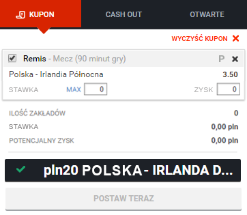 Odbierz 20zł Full Bet za darmo i postaw na mecz Polska - Irlandia Płn. w Betano!