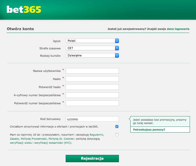 Wpisz kod bonusowy w bet365 (rejestracja) i aktywuj bonusy na 2017!