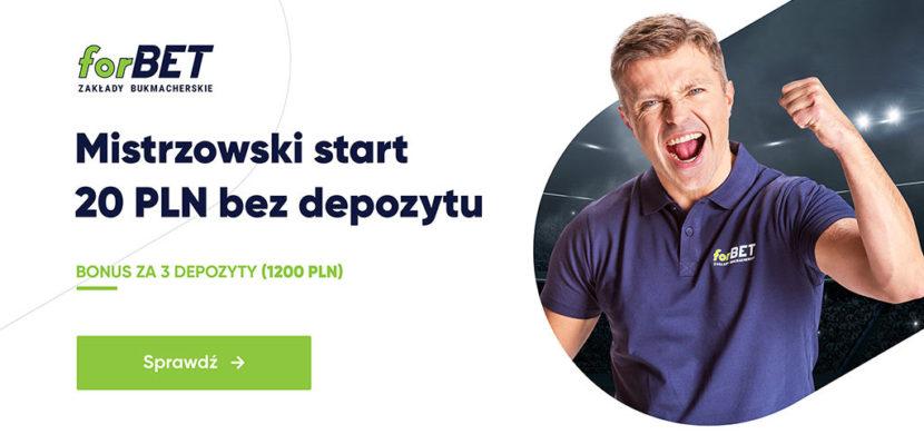 20 zł bez depozytu na start w forBET