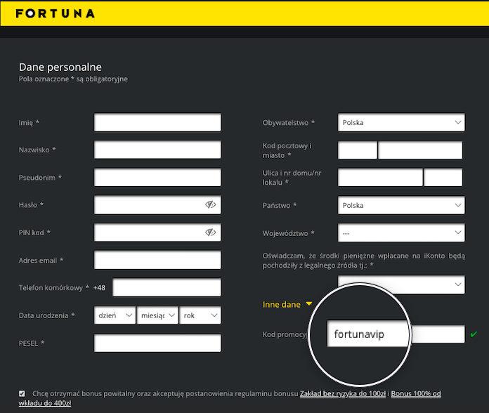 Kod Promocyjny Fortuna 2020 - rejestracja