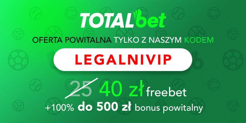 Kod bonusowy Totalbet freebet 40 PLN