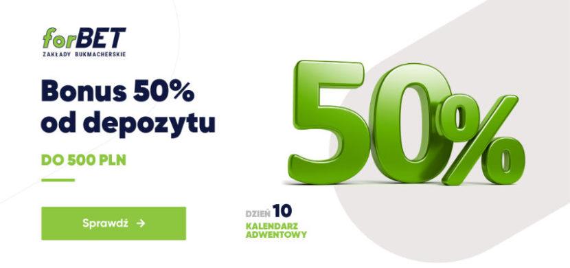 Bonus 50% od depozytu do 500 zł od forBET