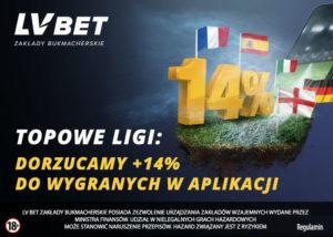 + 14% do wygranych w Aplikacji LV BET