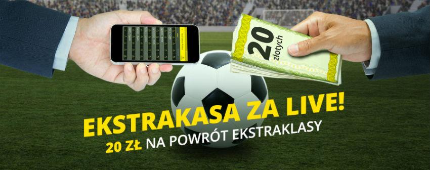 Bonus 20 PLN od Fortuny na zakłady LIVE na Ekstraklasę