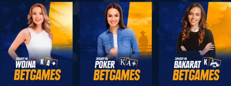 Zakłady na pokera, wojnę i bakarata w STS